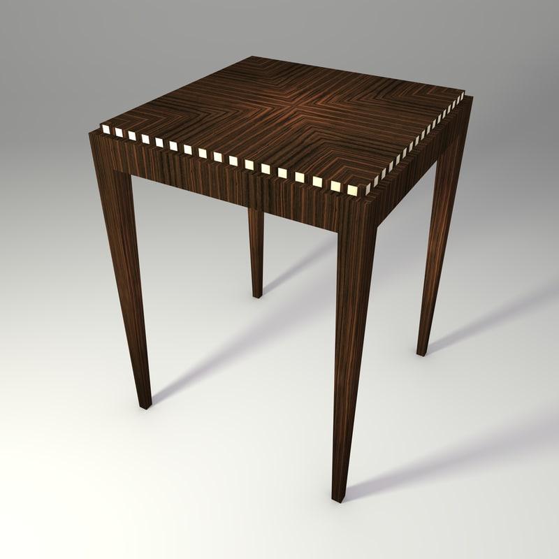 3d model macassar art deco table