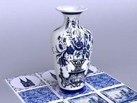 3d dutch delft vase porclain model
