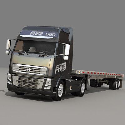 3d semi truck flatbed trailer