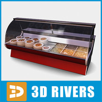 3d model display freezer salads
