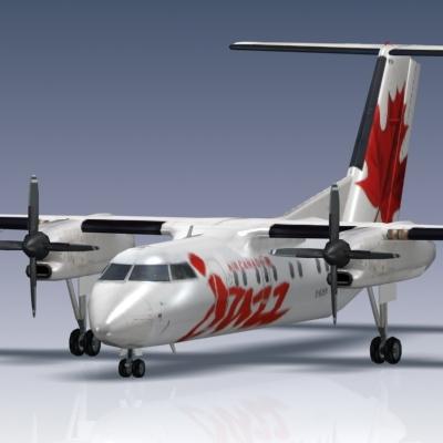 3d model q100 bombardier airliner
