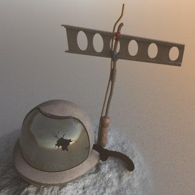 derelict space helmet 3d model