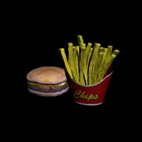 burger french fries 3d max