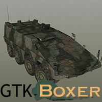 GTK Boxer (armoured fighting vehicle) with interior (low polygon)