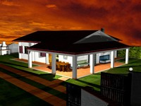 3d villa bungalow zipped house model