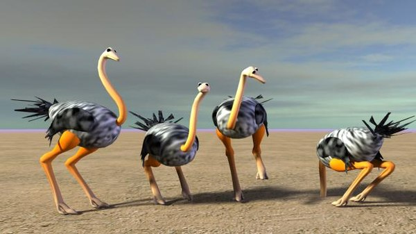 3d model ostrich animation