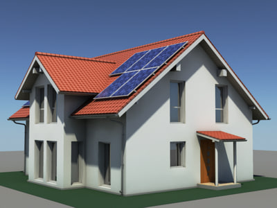 3ds modern residential house solar panels