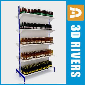 supermarkets beer shelving 3d model