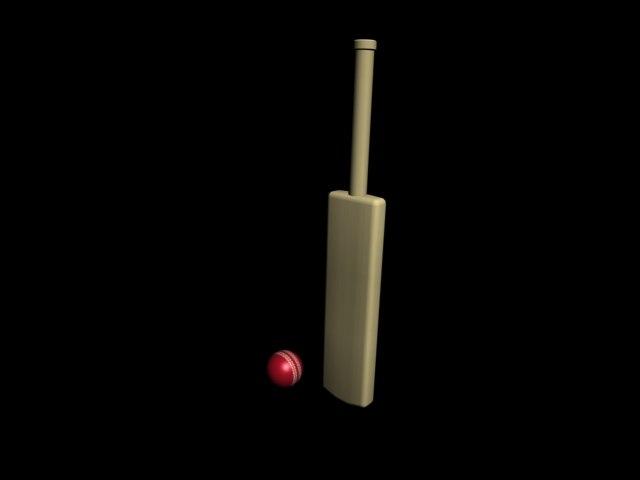 3d model simple cricket bat ball