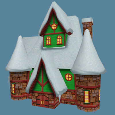 3d santa workshop house
