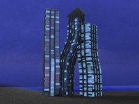 dancing towers 3d obj