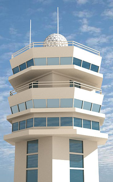 3d airport control tower model