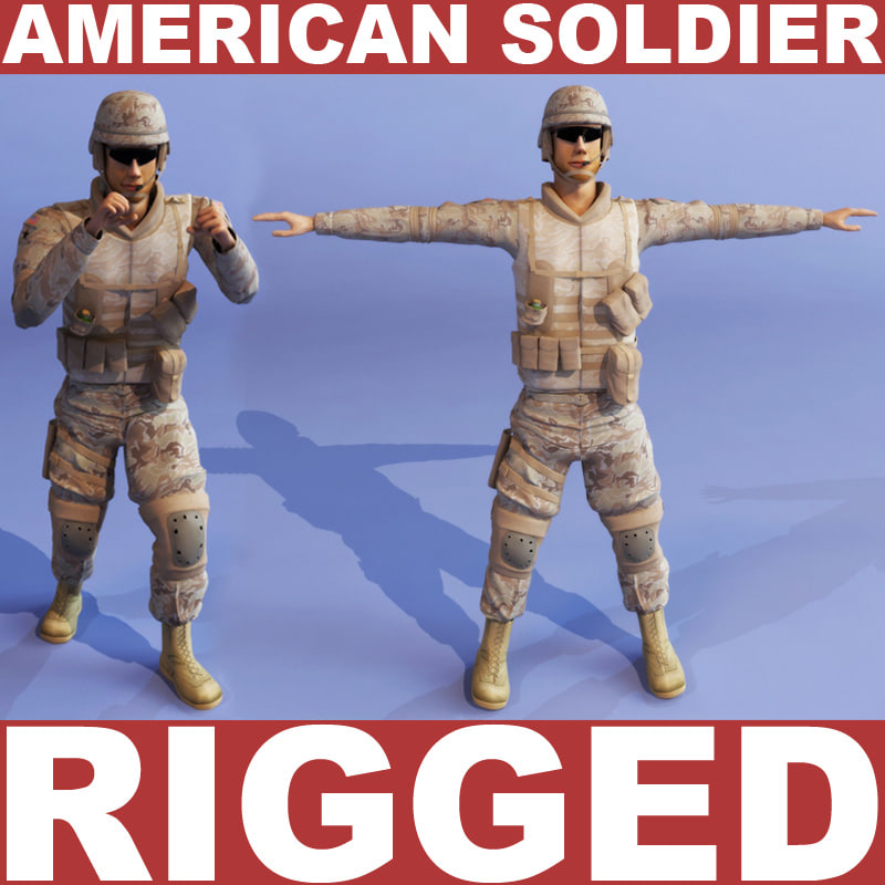 3d american soldier model