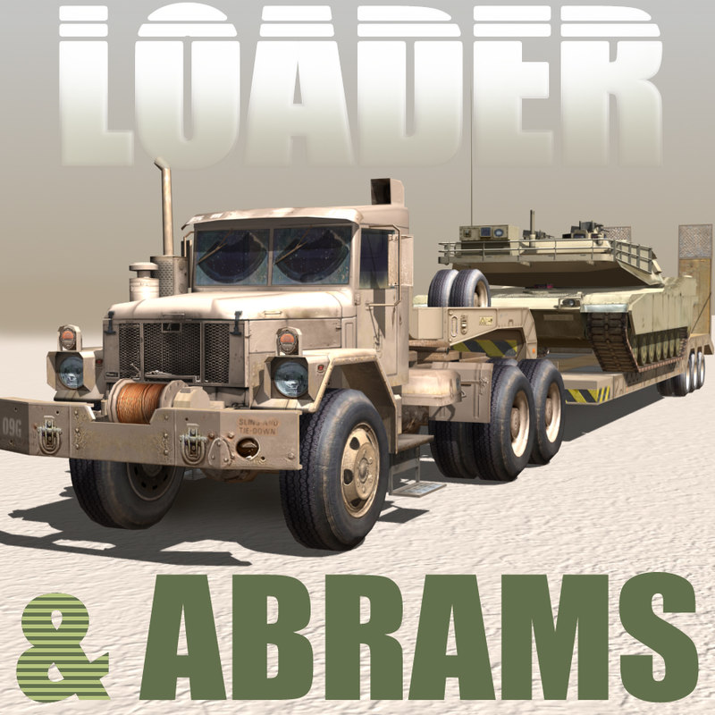 3d military truck-low loader abrams