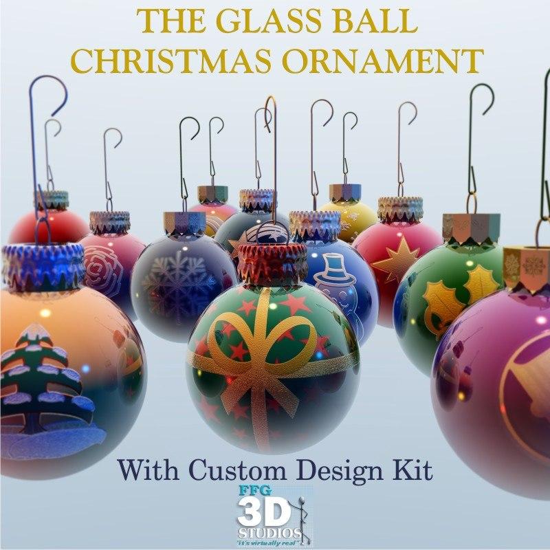 3d glass ball christmas ornament