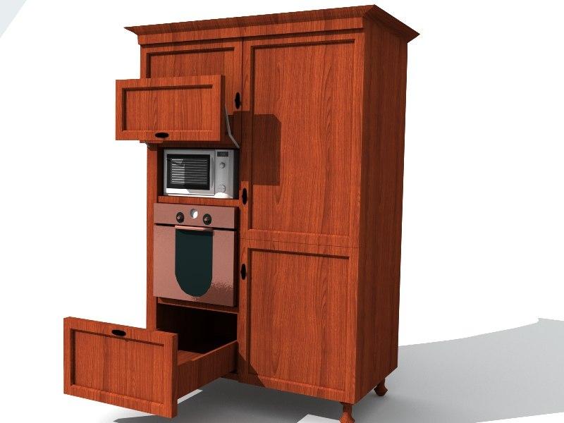 3d model kitchem furniture old fashioned