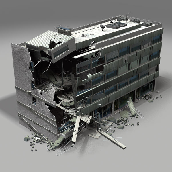 Destroyed Building 3d Model: build house online 3d free