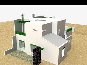 semi-detached house 3d model