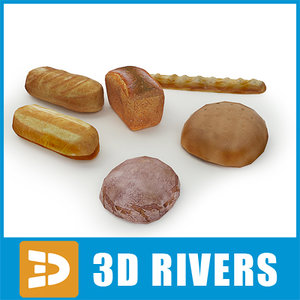 3d bread supermarket food