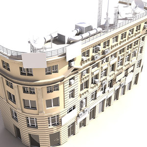 3d commercial building facade model