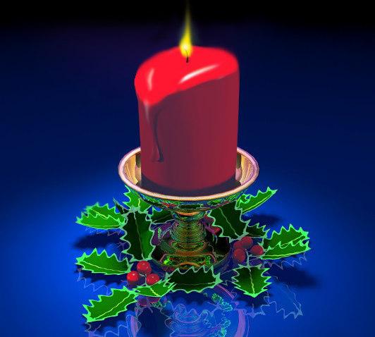 3d christmas pilar candle wax