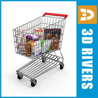 metallic shopping cart 3d model