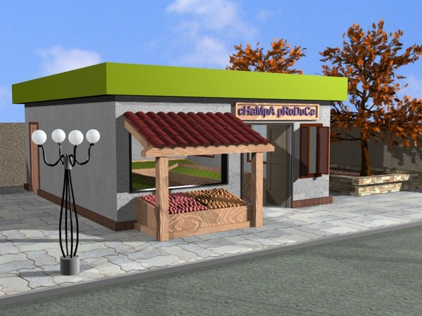 small produce store 3d model