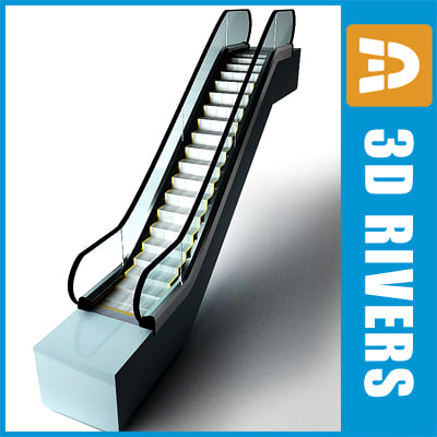 escalator shopping 3d model