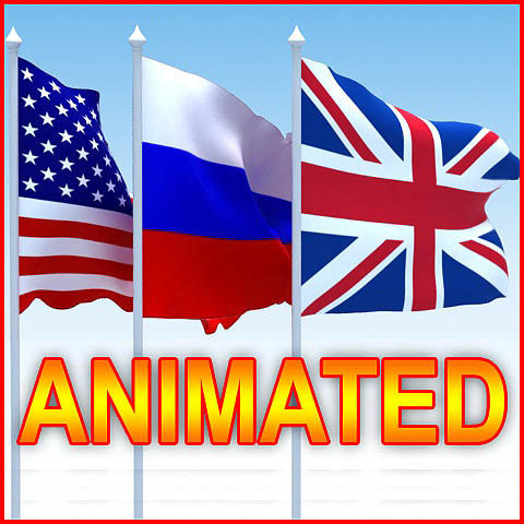 3d flags animation model