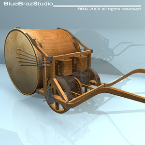 3d model leonardo mechanical drum