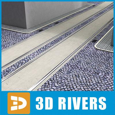 3d model paved road tram