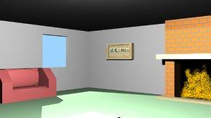 free simple scene room 3d model