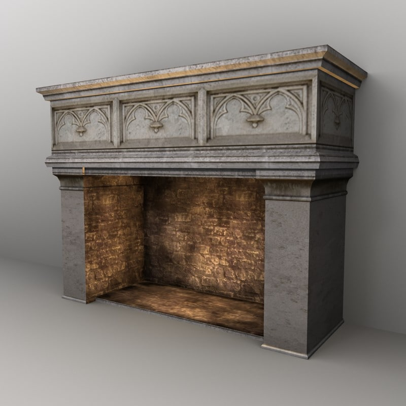 3ds gothic fireplace