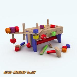childrens work bench 3d model