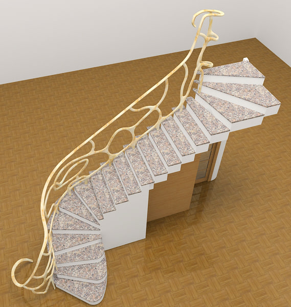 3d stair modern architecture model