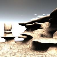 3d alien desert cliff