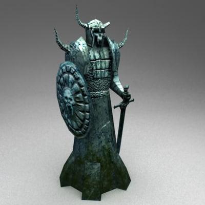 3d model ancient warrior statue