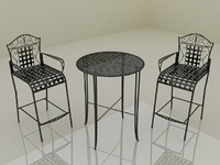 Bistro Garden Coffee Table Set - High Quality Furniture 3d model