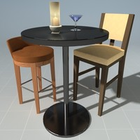 3d bar table chairs model