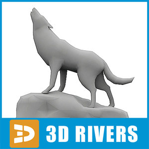 polygonal wolf 3d model