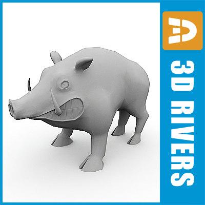 3d model polygonal wild boar