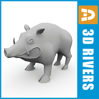 3d model polygonal wild boar