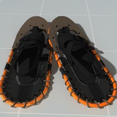 snow shoes 3d model