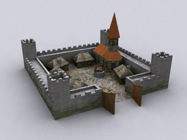 castle church houses 3d model