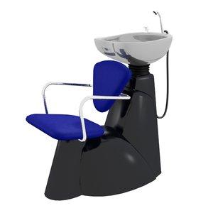 3d hair wash chair model