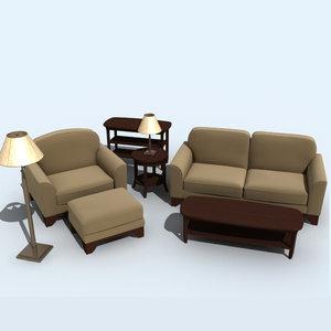 3d model living room set