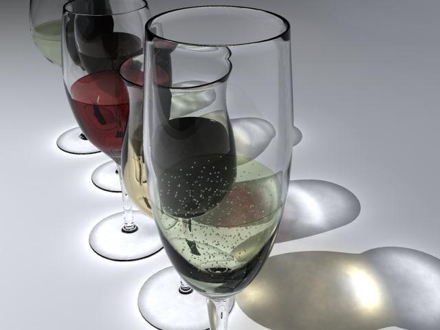 3d model of wine glasses