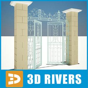 metallic gate doors 03 3d model