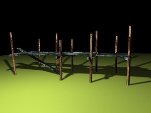 broken pier bridge 3d 3ds
