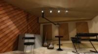 3d recording studio auditorium anecoic model
